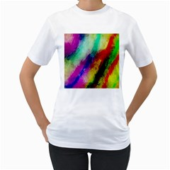 Colorful Abstract Paint Splats Background Women s T-Shirt (White) (Two Sided)