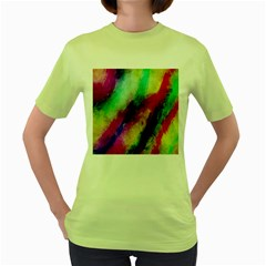 Colorful Abstract Paint Splats Background Women s Green T Shirt