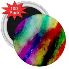 Colorful Abstract Paint Splats Background 3  Magnets (100 Pack)