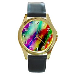Colorful Abstract Paint Splats Background Round Gold Metal Watch