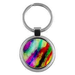 Colorful Abstract Paint Splats Background Key Chains (round)