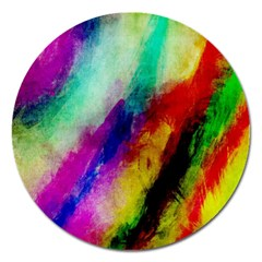 Colorful Abstract Paint Splats Background Magnet 5  (round)