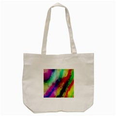 Colorful Abstract Paint Splats Background Tote Bag (Cream)