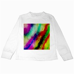 Colorful Abstract Paint Splats Background Kids Long Sleeve T-Shirts