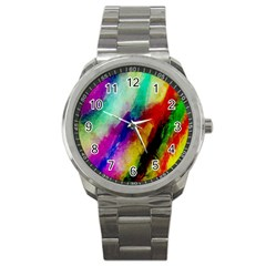 Colorful Abstract Paint Splats Background Sport Metal Watch