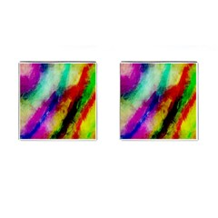 Colorful Abstract Paint Splats Background Cufflinks (square)
