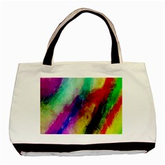 Colorful Abstract Paint Splats Background Basic Tote Bag