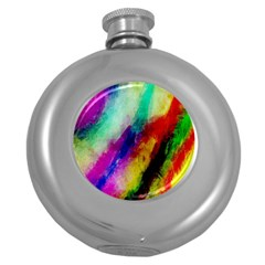 Colorful Abstract Paint Splats Background Round Hip Flask (5 Oz)
