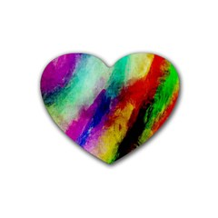 Colorful Abstract Paint Splats Background Rubber Coaster (heart)