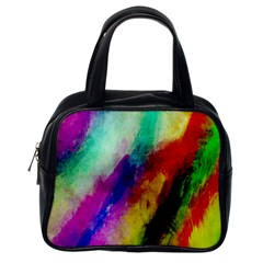 Colorful Abstract Paint Splats Background Classic Handbags (one Side)