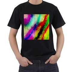Colorful Abstract Paint Splats Background Men s T-Shirt (Black)