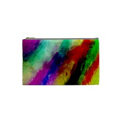 Colorful Abstract Paint Splats Background Cosmetic Bag (small)