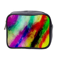 Colorful Abstract Paint Splats Background Mini Toiletries Bag 2 Side