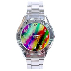 Colorful Abstract Paint Splats Background Stainless Steel Analogue Watch