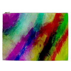 Colorful Abstract Paint Splats Background Cosmetic Bag (XXL)