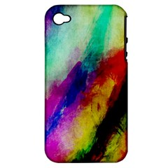Colorful Abstract Paint Splats Background Apple iPhone 4/4S Hardshell Case (PC+Silicone)