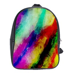 Colorful Abstract Paint Splats Background School Bags (XL)