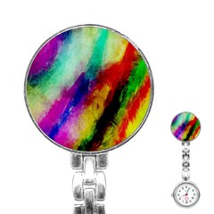 Colorful Abstract Paint Splats Background Stainless Steel Nurses Watch