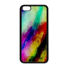 Colorful Abstract Paint Splats Background Apple iPhone 5C Seamless Case (Black)