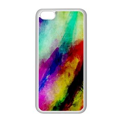Colorful Abstract Paint Splats Background Apple iPhone 5C Seamless Case (White)