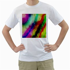 Colorful Abstract Paint Splats Background Men s T-Shirt (White)