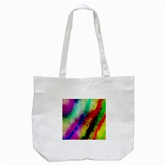 Colorful Abstract Paint Splats Background Tote Bag (White)