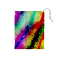 Colorful Abstract Paint Splats Background Drawstring Pouches (Medium)