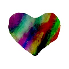 Colorful Abstract Paint Splats Background Standard 16  Premium Flano Heart Shape Cushions