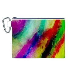 Colorful Abstract Paint Splats Background Canvas Cosmetic Bag (L)