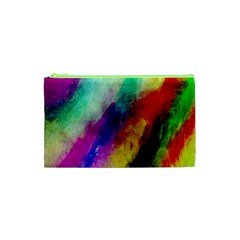 Colorful Abstract Paint Splats Background Cosmetic Bag (xs)