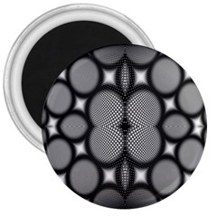 Mirror Of Black And White Fractal Texture 3  Magnets