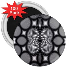 Mirror Of Black And White Fractal Texture 3  Magnets (100 pack)