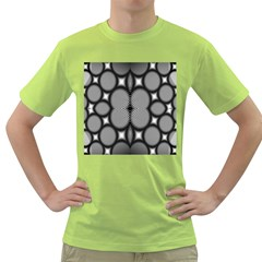Mirror Of Black And White Fractal Texture Green T-Shirt
