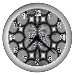 Mirror Of Black And White Fractal Texture Wall Clocks (Silver)