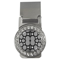 Mirror Of Black And White Fractal Texture Money Clips (CZ)