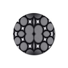 Mirror Of Black And White Fractal Texture Rubber Coaster (Round)