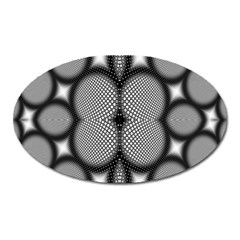 Mirror Of Black And White Fractal Texture Oval Magnet