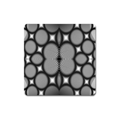 Mirror Of Black And White Fractal Texture Square Magnet