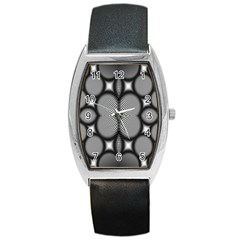 Mirror Of Black And White Fractal Texture Barrel Style Metal Watch