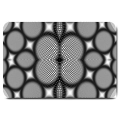 Mirror Of Black And White Fractal Texture Large Doormat