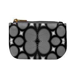 Mirror Of Black And White Fractal Texture Mini Coin Purses