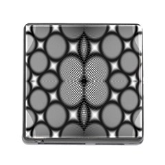 Mirror Of Black And White Fractal Texture Memory Card Reader (Square)