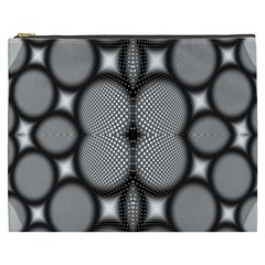 Mirror Of Black And White Fractal Texture Cosmetic Bag (XXXL)
