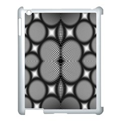 Mirror Of Black And White Fractal Texture Apple iPad 3/4 Case (White)