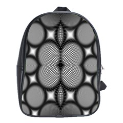 Mirror Of Black And White Fractal Texture School Bags (XL)