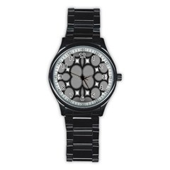 Mirror Of Black And White Fractal Texture Stainless Steel Round Watch