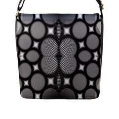 Mirror Of Black And White Fractal Texture Flap Messenger Bag (L)