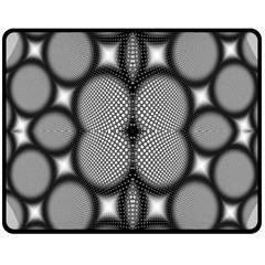 Mirror Of Black And White Fractal Texture Double Sided Fleece Blanket (Medium)