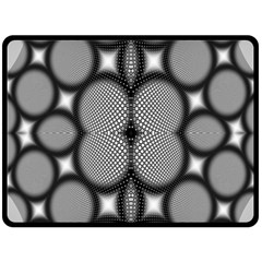 Mirror Of Black And White Fractal Texture Double Sided Fleece Blanket (Large)