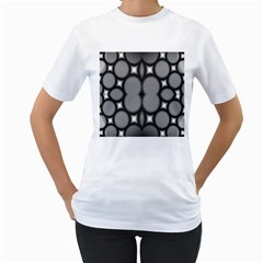 Mirror Of Black And White Fractal Texture Women s T-Shirt (White)
